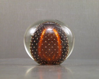 Amber Handblown Art Glass Paperweight