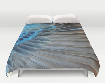 Duvet Cover - Comforter Cover - Bird Feather Wing - Blue Gray - Nature Bedding - Blanket Cover - King Queen Full Twin