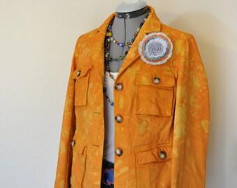 """Orange Medium Denim JACKET - Gold Orange Hand Dyed Upcycled Gap Safari Blazer Jacket - Adult Womens Size 12 Medium (40"""" chest)"""