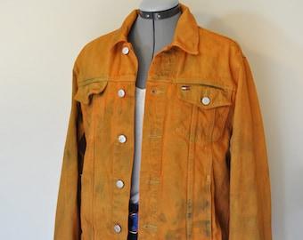"Orange Mens Teen XL Denim JACKET - Pumpkin Dyed Upcycled Tommy Hilfiger Denim Trucker Jacket - Adult Mens or Teen Extra Large (42"" chest)"