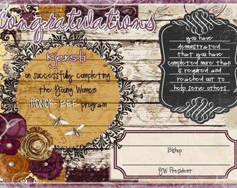 Customized Honor Bee certificate 5x7 size