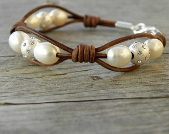 Sterling Silver  Swarovski Crystal and Pearls Leather Bracelet Stacking Knotted
