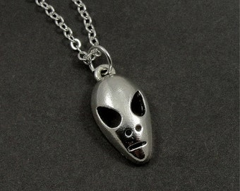 Alien Necklace, Silver Alien Charm on a Silver Cable Chain