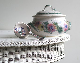 Earthenware Clay Stoneware Soup Tureen With Ladle Floral