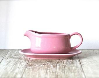 Mid Century Pink Ceramic Gravy Boat Japan