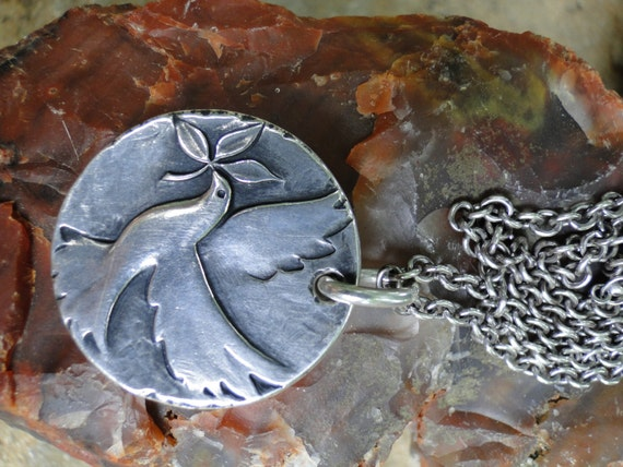 Vintage Sterling Silver James Avery Peace Dove With Olive
