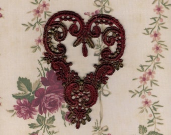 Hand Dyed Venise Lace Applique Victorian Heart  Edwardian Christmas