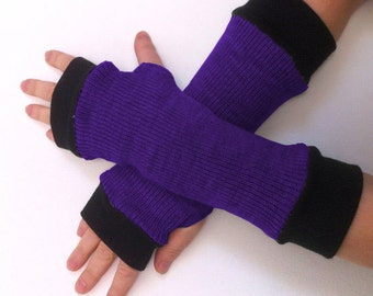 Fingerless gloves purple  with black  cuffs