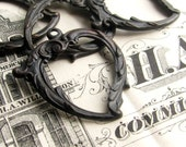 Flourish edge open frame heart charm, black antiqued brass (4 black heart charms) aged patina, Victorian Mourning