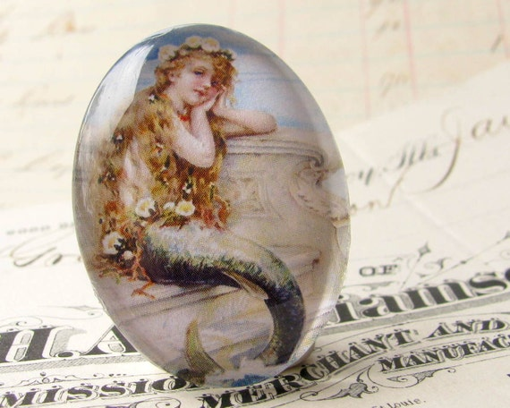 "Vintage 1930s advertisement ""Mermaid Bath Salts"" Handmade glass oval cabochon 40x30mm 40x30 30x40mm 40 30 mm"