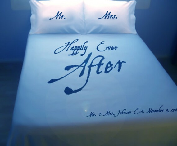 Mr Mrs Wedding Gift Newlywed Duvet Cover Sheet Set Bedding