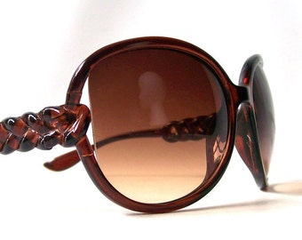 vintage 1990's sunglasses brown frames and lenses braided arm sun glasses eyewear fashion accessories accessory retro modern women oversized