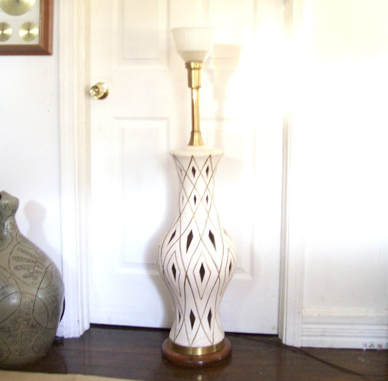 vintage 1960's large ceramic floor lamp torch by ...