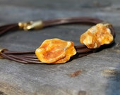 Raw Honey Amber Leather Necklace  Unisex Jewelry Eco Natural Fashion  Brown Cognac Resin Warm Summer Fashion Rustic Yellow