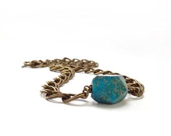 Turquoise Necklace - Geometric Aqua Terra Jasper Nugget - Stacking Layering Bracelet - Chunky Bronze Chain - Bohemian Jewelry