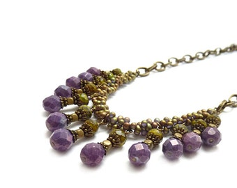 Purple Statement Necklace - Seed Bead Necklace - Czech Glass Drop Necklace - Bronze Chain - Beaded Bohemian Necklace