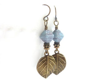 Bronze Leaf Earrings - Pale Blue Glass Beads - Metal Dangles - Pastel Baby Blue - Bohemian Earrings - Rustic Jewelry