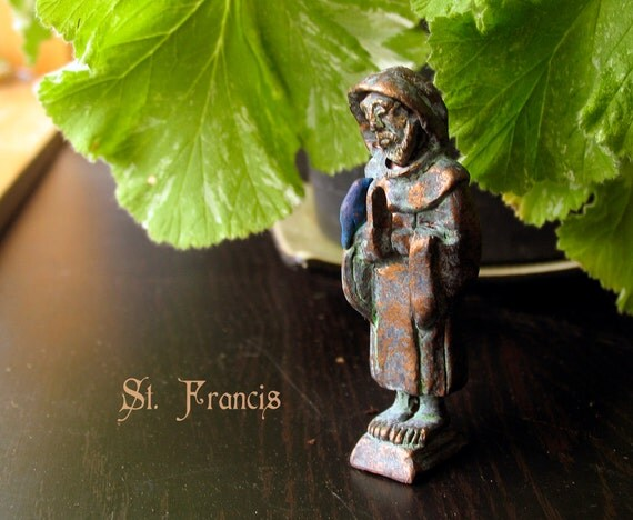 St Francis of Assisi Statue - Patron of Animals, Merchants, Cub Scouts and Italy - Handcrafted Clay Figurine with Bronze Patina Finish -
