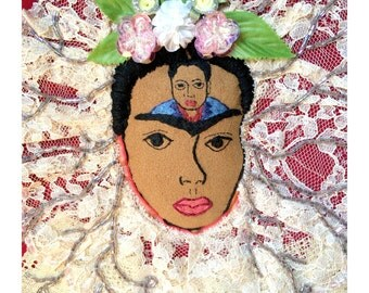 "Embroidered Frida Kahlo Hoop Art: ""Diego in My Thoughts"" with Lace, Beading, 8-inches"