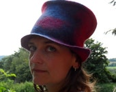 Felted Top Hat - Red Blue and Purple PIIKU wool felted