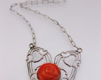 Vintage 1930's Coral Glass Filigree Necklace