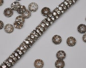 6 mm Classic Aged Silver Patina Brass Rhinestone Rondelle Beads 20 or 50 Pieces