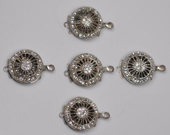 17 mm Classic Round Box Clasps Silver Toned with Rhinestones Art Deco Style 1 or 5 Pieces