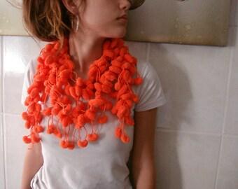 40% discount  Orange Neckwarmer Scarf, Cocoon Pom Pom Scarf, Hand crochet Long Scarf