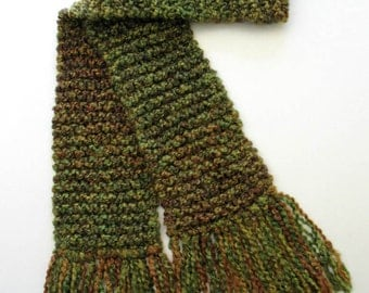 Green Scarf, Chunky Knit Long Scarf, Hand Knitted Winter Scarf for Men or Women, Celtic Olive Green Knit Scarf