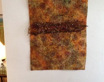 Beaded Fiber Art Wall Hanging - Sunflower Tangle