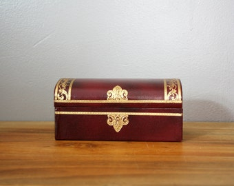 Vintage Mens Burgundy with Gold Embossed Trim Swank Made in Sweden Trunk Treasure Chest Style Jewelry Jewel  Box Case