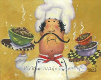 Three Bowl Chef Art Print, fat chef wall art chef art kitchen art chef paintings whimsical, waiter, funny, art gold, Vickie Wade ART