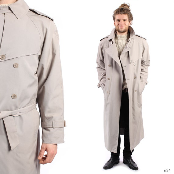 Beige Mens Trench Coat Mens Raincoat With Detachable