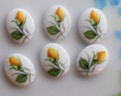 N1377 Vintage Cabochon Limoges Yellow Roses Rose Floral Cabs Flowers Lot Old 10mm 8mm