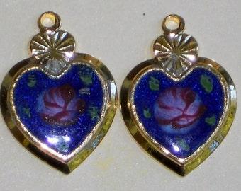 N1256Q Vintage Guilloche Charms Brass Hearts 20x14mm Connectors enamel NOS