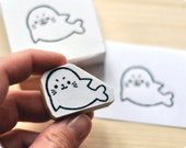 Cute seal hand carved rubber stamp