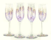 Hand Painted CRYSTAL Champagne Glasses - Lavender Purple and Gold Roses, Set of 4 - Champagne Flutes a Mariage Sparkling Wine Glasses