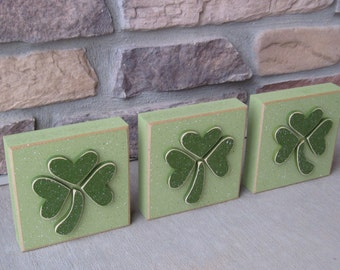 """5"""" CLOVER or SHAMROCK block SET of 3 for St. Patricks day and home decor"""