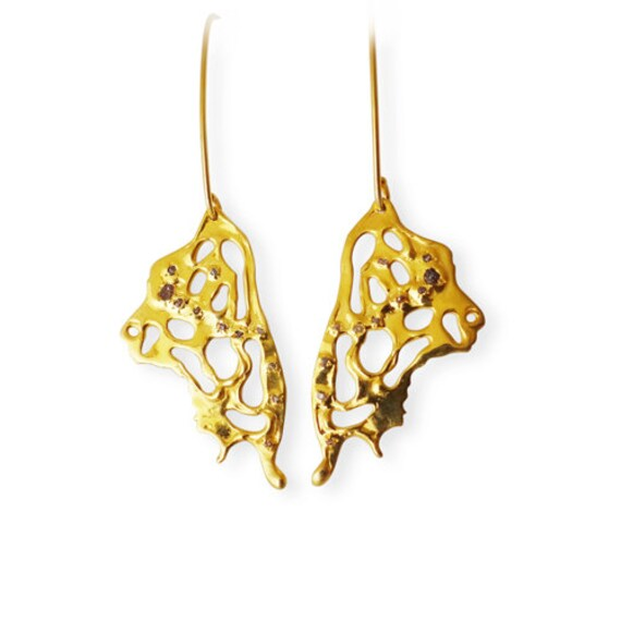 Butterfly earrings and raw diamonds Vermeil Hand made in NYC