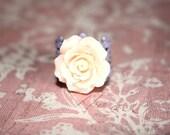 Flower Ring Peach Jewelry Peach Flower Ring Lavender Adjustable Ring Filigree Ring