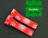 Pair of Non-Slip Snowflake Hair Clips