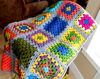 SALE Crocheted GrannY Square Afghan Lap BlanKet