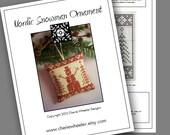 PDF Cross Stitch Pattern for Redwork Nordic Snowman Ornament