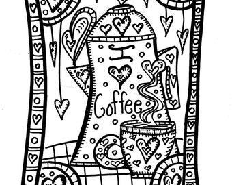 Hippie Coffee Coloring Book, I Heart Coffee, color while you drink your java, Bound without any holes!!