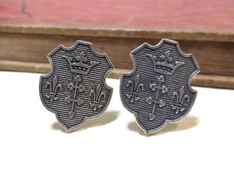 SALE Crest Cuff Links - Antiqued Silver CuffLinks - Penny Farthing - Victorian - Coat of Arms - Fleur Di Lis - Crown - Soldered CLEARANCE
