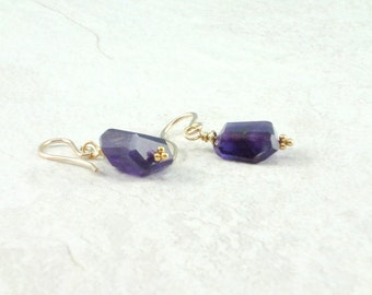 Amethyst Earrings, Gold Filled Earwires