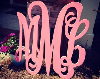 "Wood letter Monogram in vine monogram font This is for a 13""-18"" monogram"