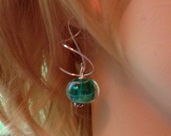 Green and Clear Glass Drop Spiral Wire Earrings