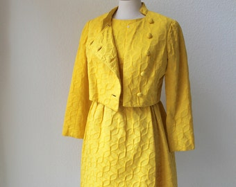 vintage 60's Joseph Magnin yellow 2 piece dress jacket ensemble.  Jane Andre  military jacket dress