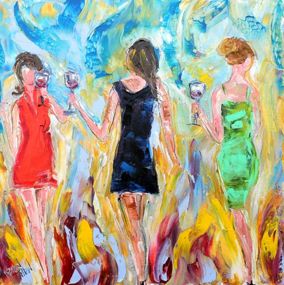 Original Oil Painting Stylish Wine Ladies Palette Knife